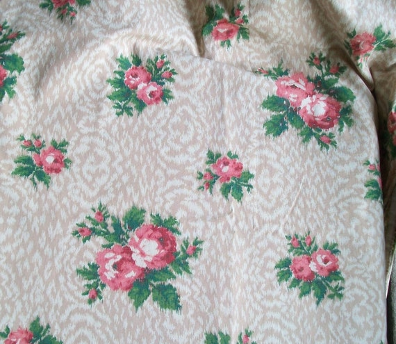 Beautiful Panel of Vintage French 1950s Barkcloth fabric pink roses oatmeal and cream material