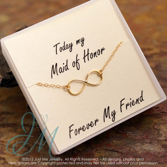 Infinity Necklace - Maid of Honor Necklace - Sterling Silver or Gold Filled - Forever my Friend
