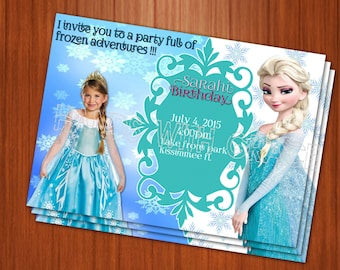 Printable Card Party Frozen personalized