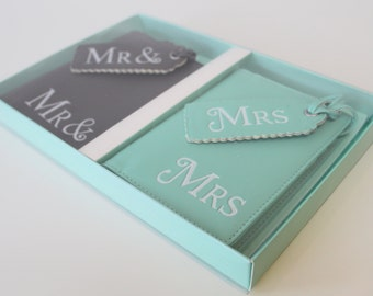 Mr and Mrs passport covers, Luggage Tags Wedding gift honeymoon Bridal present