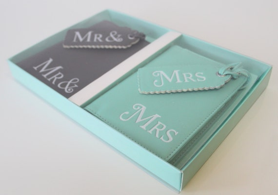 Personalized Luggage Tags Wedding Gift: Mr And Mrs Passport Covers Luggage Tags Wedding Gift