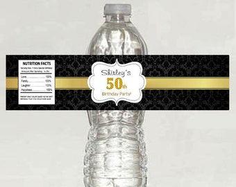 Damask 50th Birthday Water Bottle Labels - Digital File