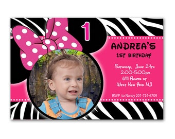 PRINTABLE - Minnie Mouse Birthday Party Photo Invitation - Zebra Print