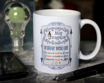 """Magic mug """"What else"""" Clooney, Dujardin, Damon. Customizable Cup. Text and graphics by PIOU creations. Made in France"""