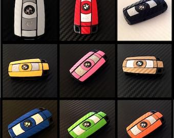 BMW Carbon Fiber 3D Vinyl Sticker Key Fob Keyring Wrap Decal Overlay 1 3 5 6 Z E Series Z4 X1 X3 X5 X6 M 1M M3 M5 M6 e90 e91 e92 e93 e60 e61