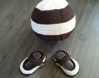 Knitted booties and hat set