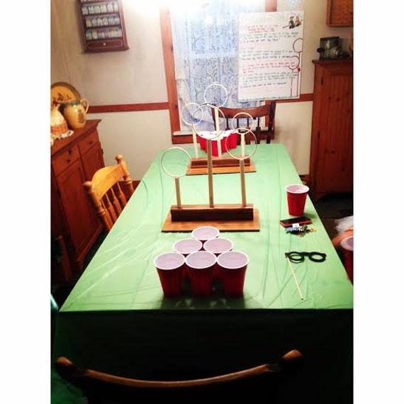 Quidditch beer pong hoops by noswalpartynovelties on etsy for Table quidditch