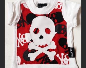 Skeletots baby goth hipster skull & crossbones applique t-shirt 0-3m to 18m