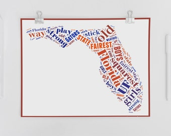 """University of Florida Fight Song Lyrics """"We are the boys"""" in a Word Jumbled Bubble"""