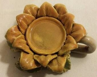 Glazed Stoneware Sunflower Candle Holder
