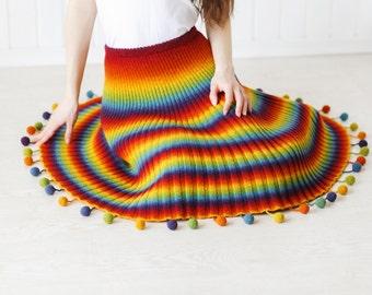 """Knitted woolen skirt """"Crazy Rainbow"""""""