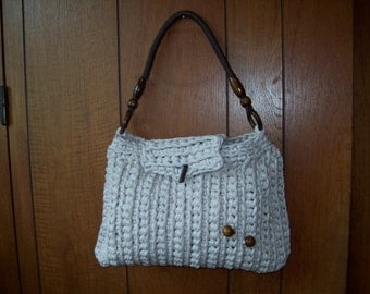 hand bag handmade large cotton 32cm L 22 H lining inside