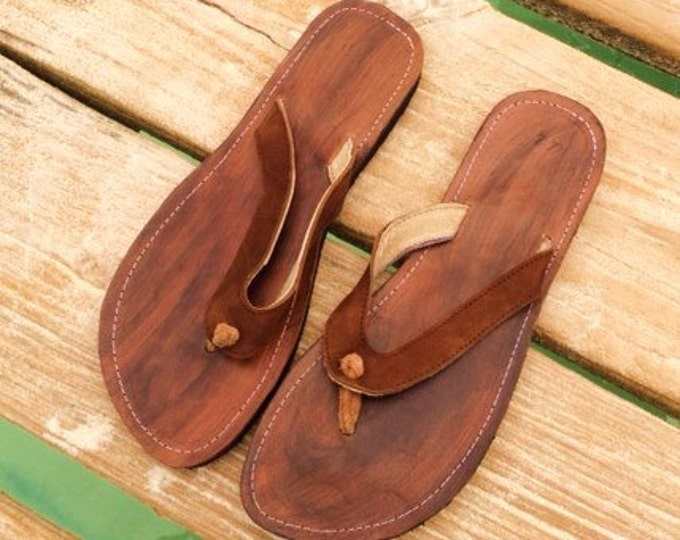 Mens Leather Sandals - 100% Genuine Leather, Handmade, Fair Trade flip flops from Honduras
