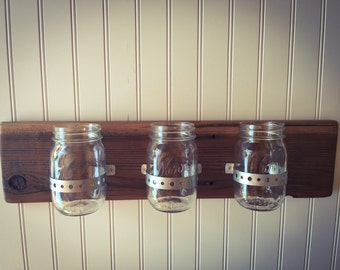 Wall mounted mason jar organizer
