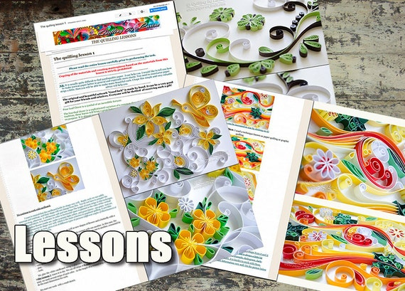 Three Quilling Lessons for beginners Graphic quilling Digital lessons Demo PDF Art Tutorial Digital Book Tutorial Handmade