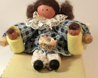 Clothespin Doll holding babies - Abbey Joe - Clara's Cupboard -1996
