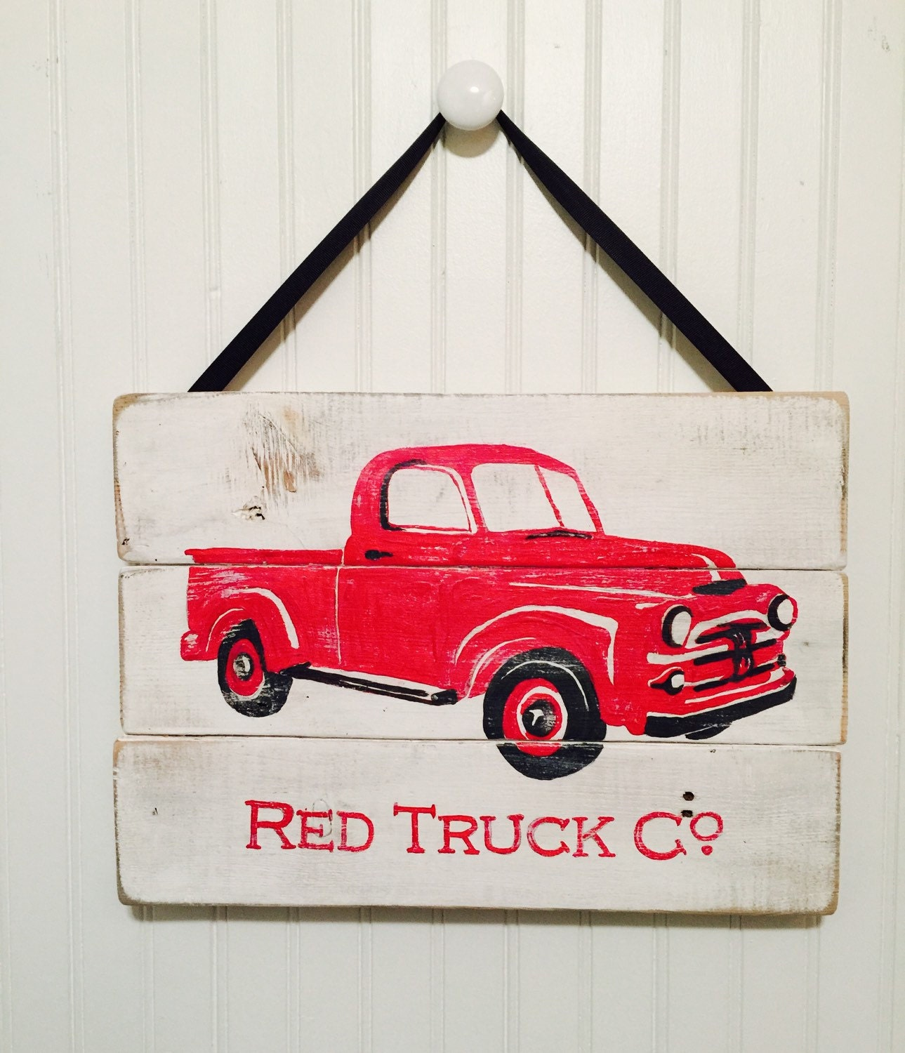 Red Truck vintage antique pallet style sign
