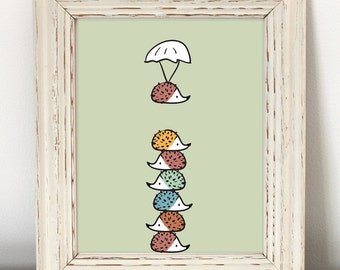 Colorful Hedgehog Nursery Art - Printable Art - hedgehog art, hedgehog prints, cute hedgehog art, girl room art, girl nursery art