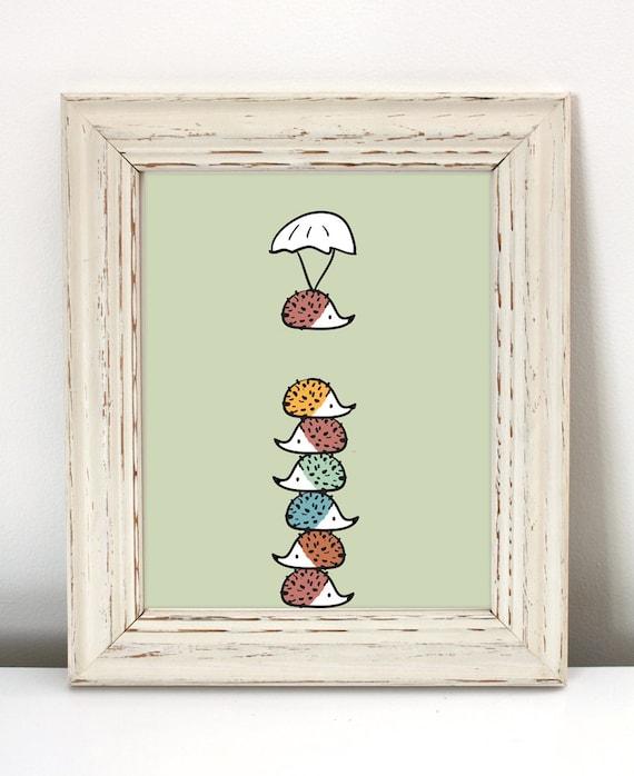 Colorful Nursery: Colorful Hedgehog Nursery Art Printable Art Hedgehog Art