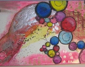 """Original Mixed Media Collage Canvas - """"Bubbles"""" - 10"""" x 20"""""""