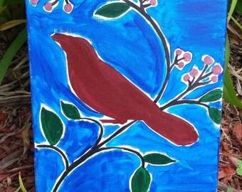 "8""x10"" Berry Bird Canvas"
