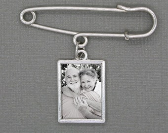 Custom Made With Your Photo! Wedding Boutonniere Pin Memorial Charm