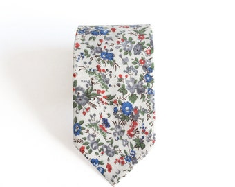 Oliver Ditsy Floral White Men's Tie, Skinny Tie