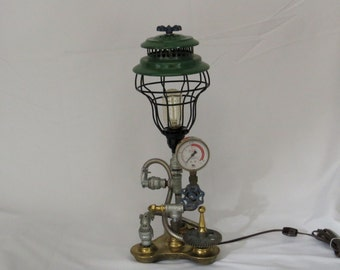 SOLD-SORRY-Please select from our other items- Desk Lamp Industrial Machine Age Steampunk - L102 Green Black Antique Gold