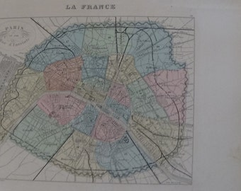 Map of Paris - Original engraving - map - by Vuillemin - 1884