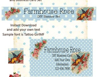 Bird Blue DIY Shop Banner Avatar and Business Card Graphics Set Instant Download
