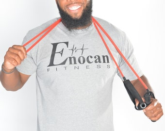 ENOCAN Men Fitness Signature Tee/Fitness T-Shirt - Heather Grey