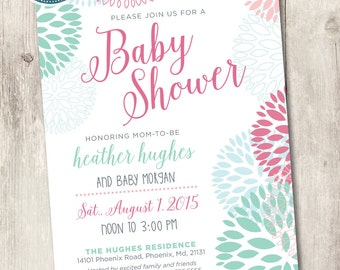pink and mint baby shower invite, printable baby shower invitation, baby girl invite pink and mint flowers customize personalize