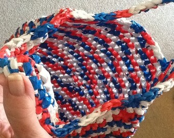 Red, White and Blue Plarn Bag