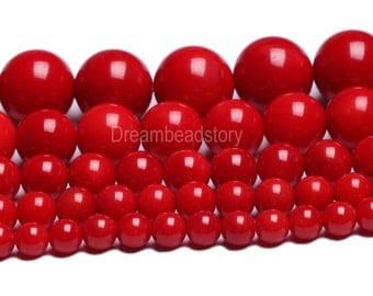 Red Coral Stone Beads Round 4 6 8mm 10mm 12mm Loose Gemstone Beads Supply (B98)