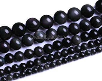 Black Obsidian Beads Round Stones 4 6 8mm 10 12 14 16 18 20mm Loose Beads Bulk Supply (B57)