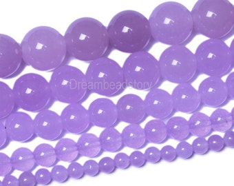 Lavender Chalcedony Beads, Purple Stone Beads, Violet Chalcedony Beads Strands, 4 6 8 10 12 14mm Light Purple Beads for Jewelry(B32)