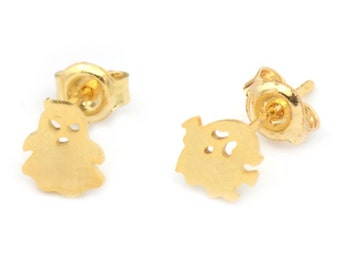 Ghost Brass Stud Earrings (Minimalist Geometric Genuine Gold Plated Jewelry, BN118-E)
