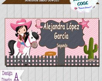 Cowgirl School Label - Sticker School - Useful Sticker - Label Name Cowgirl - Label Books - Sticker Vaquera, Notebook, CowGirl, Girl, Pink