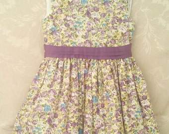 Girls Lined Fashion Purple Floral Dress. Age 5-6