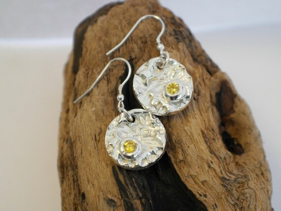 Handmade Silver Dangle Earrings set with a Citrine Stone - Handmade In Wales