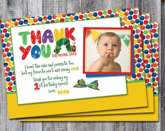 The Very Hungry Caterpillar thank you card - for first birthday