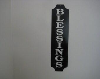 Blessings Metal Vertical Wall Words