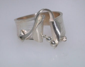 Sterling and Fine Silver, Hand Forged Ring - Size 7