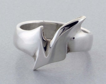 "Sterling Silver Ring, Hand ""Carved"" Ring - 7 1/2"