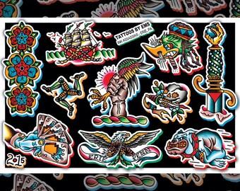 "11 x 17"" watercolor traditional tattoo flash print"