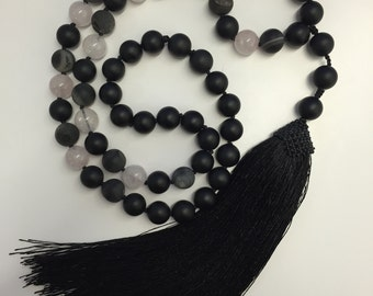 Edgy Extra Long Tassel Necklace with Rose Quartz, Black Matte Agate and Geode Beads
