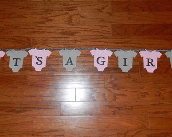 It's a Girl  - Pink and Gray Owl Banner