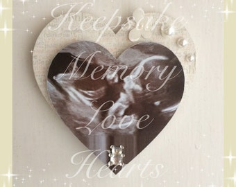 Personalised baby ultrasound scan wooden heart magnet in cream, pink or Blue. Ideal Baby Shower gift or Mother's Day Gift