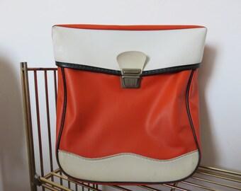 old orange and white bag for SOLEX bike Mobylette MOTOBECANE French-made 1970 70