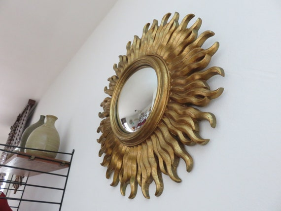 ancien grand miroir soleil dor bomb oeil de sorci re vintage. Black Bedroom Furniture Sets. Home Design Ideas